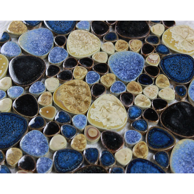 Porcelain Pebble Tile Bathroom Wall Tiles Glazed Ceramic Mosaic Kitchen Backsplash Pebbles Shower