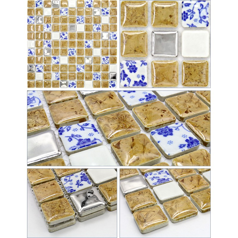 ceramic mosaic sheet blue white porcelain tile glaze kitchen backsplash tiles  bathroom mirrored wall JN001 swimming pool