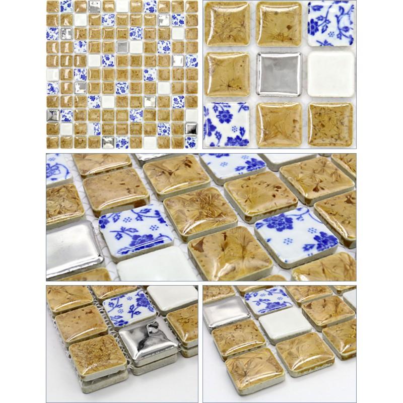 mosaic sheet blue white porcelain tile glaze kitchen backsplash ...
