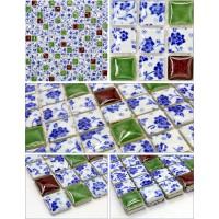 ceramic mosaic blue and white porcelain tile glaze kitchen backsplash tiles bathroom mirrored wall stickers JN004 swimming pool shower floor tile designs