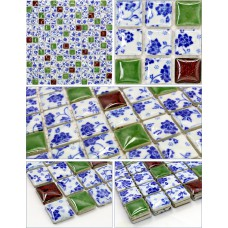 ceramic mosaic blue and white porcelain tile glaze kitchen backsplash tiles bathroom mirrored wall stickers JN004 swimming pool shower floor tile designs