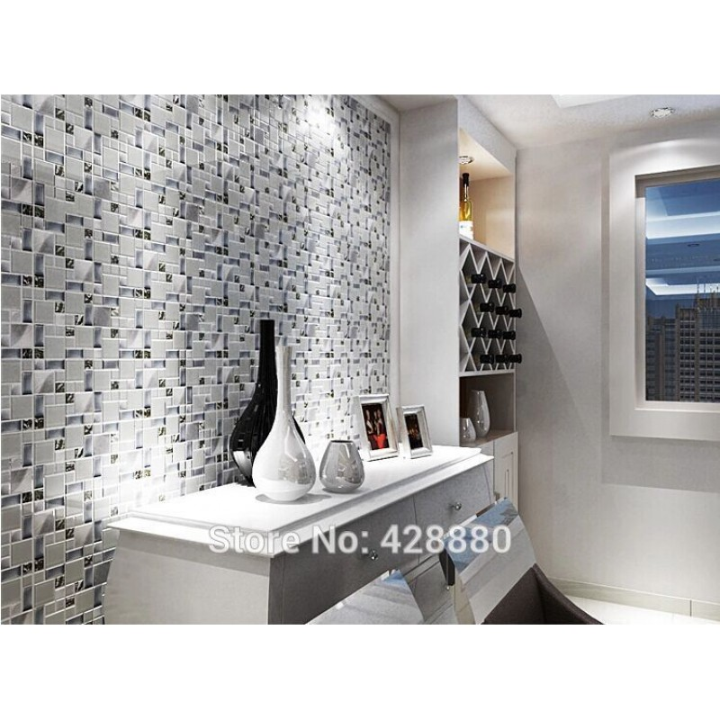 ... Silver Metal And Glass Tile Backsplash Ideas Bathroom Brushed Stainless  Steel Sheet Plated Crystal Glass Mosaic ...