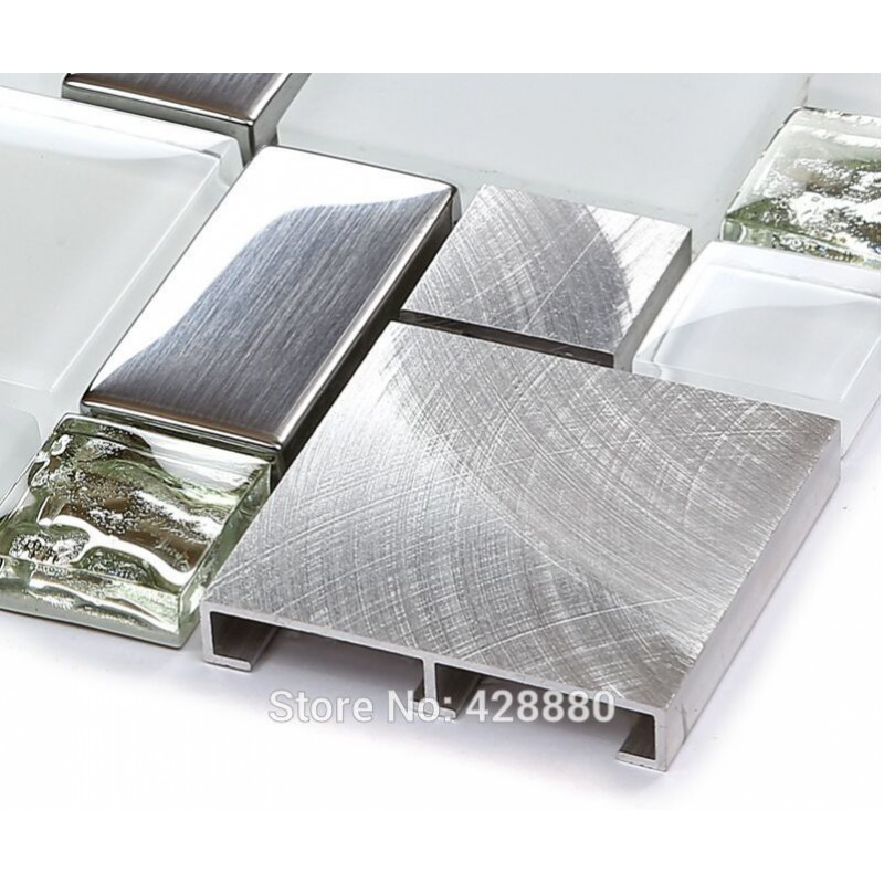Silver Metal And Glass Tile Backsplash Ideas Bathroom