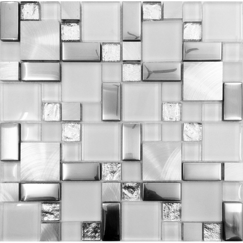 Silver Metal And Glass Tile Backsplash Ideas Bathroom Brushed