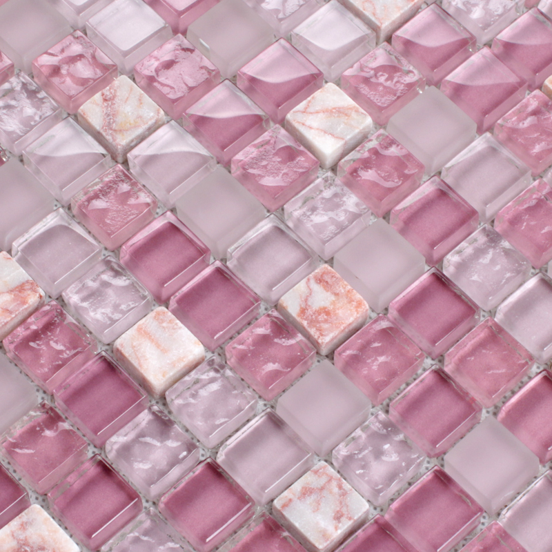 pink kitchen wall tiles pink glass tile mosaic square 3 5 quot frosted glass 4232