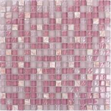 "Pink glass stone tile mosaic square 3/5"" frosted glass tiles kitchen backsplashes natural stones shower wall backsplash SG1638"