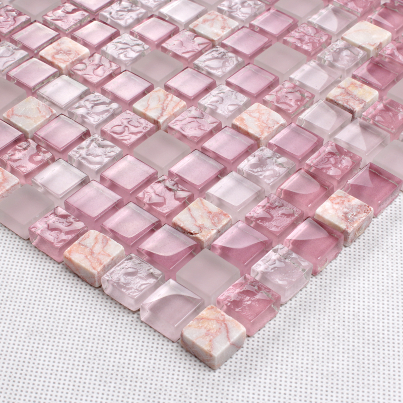 pink kitchen tiles pink glass tile mosaic square 3 5 quot frosted glass 1503