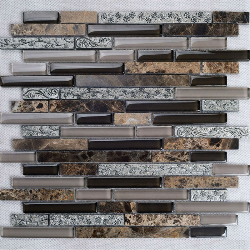 Natural stone and glass mosaic tile backsplash ideas bathroom deep  emperador marble floor tiles cheap kitchen - Natural Stone And Glass Mosaic Tile Backsplash Ideas Bathroom Deep