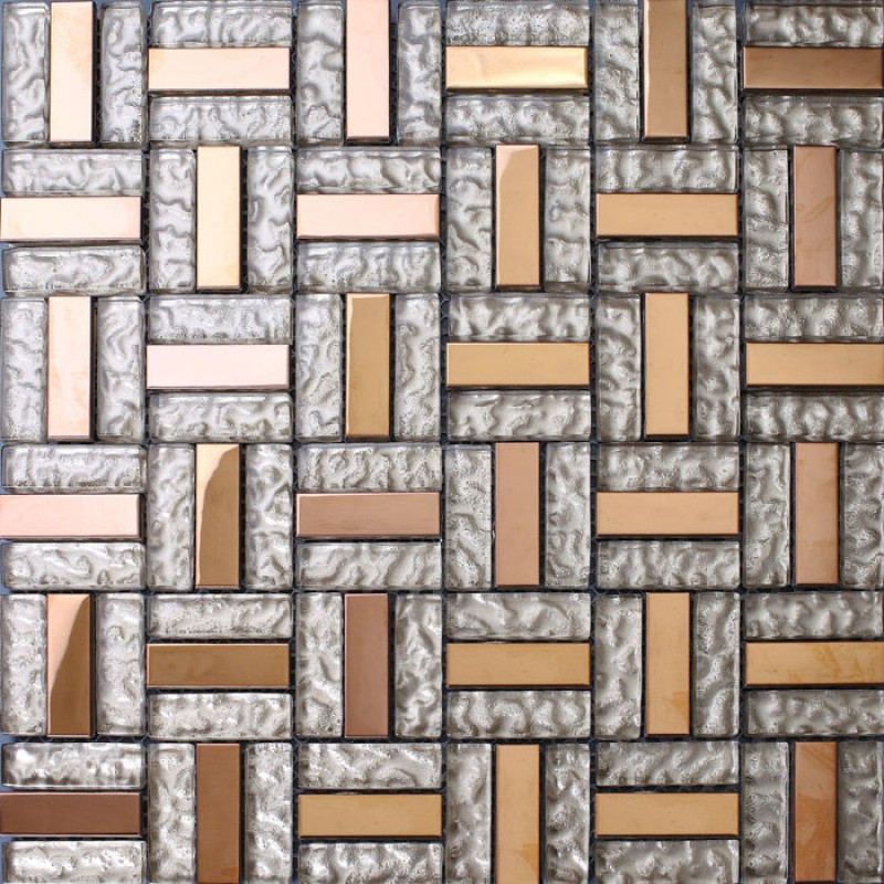 Crystal Glass Tile Sheet Stainless Steel Mosaic Tile