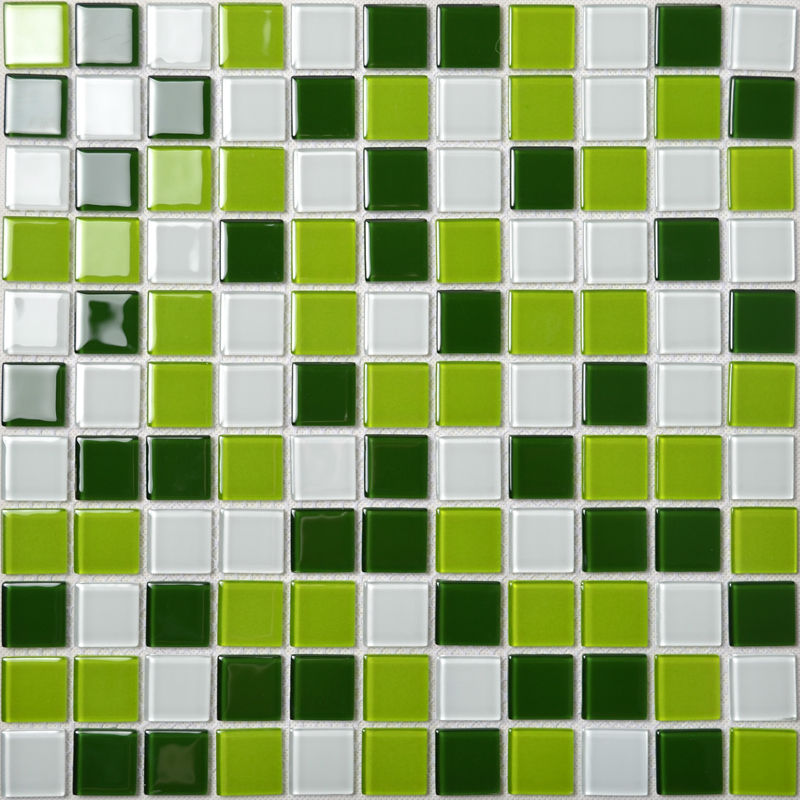 Glass mosaic tile backsplash kitchen wall tiles green and for Pool design mosaic tiles