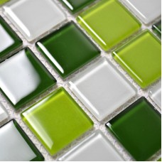 Glass Mosaic Tile Backsplash Kitchen Wall Tiles Green and White Mixed Crystal Mosaic Design Swimming Pool Border Brick KI504