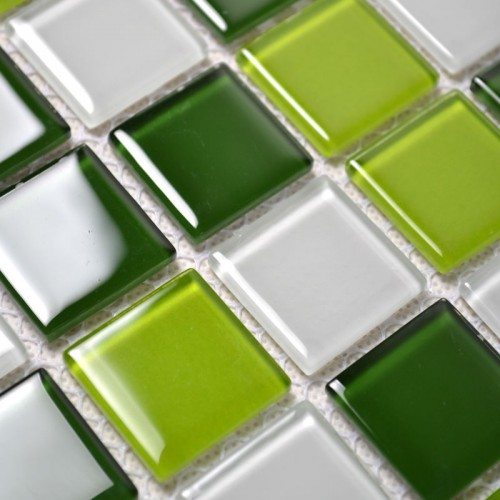 Glass Mosaic Tile Backsplash Kitchen Wall Tiles Green and White Mixed Crystal Mosaic Design Swimming Pool Border Brick KI504