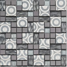 Glass Mosaic Tile sheets Puzzle Mosaic Tiles circle patterns Kitchen Backsplash Wall stickers Crystal Glass Mosaics art KK1005