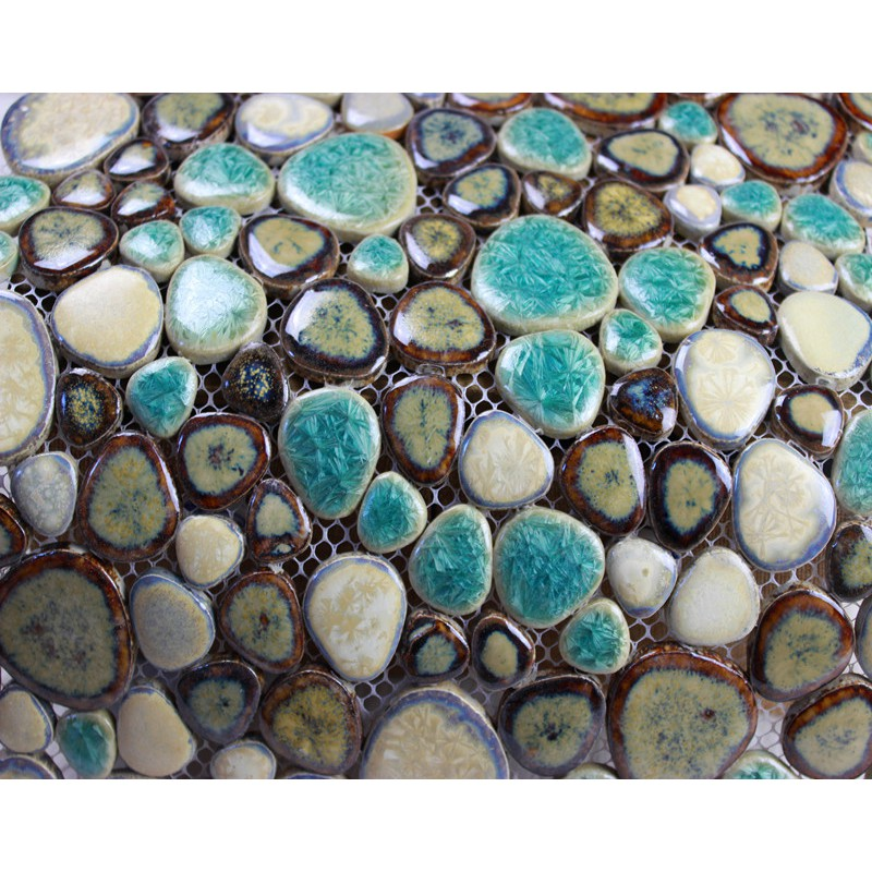 Porcelain Pebble Tile Backsplash Heart Shaped Glazed Ceramic Tile Stickers Kitchen Pebbles Mosaic Tiles Bathroom