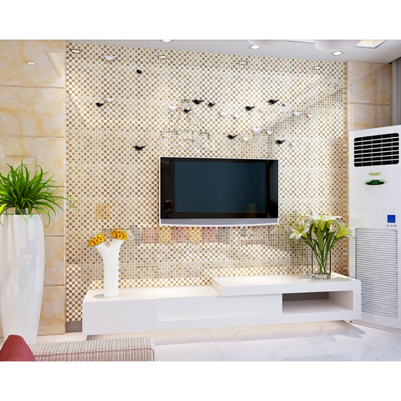Kitchen Wall Background gold crystal glass tile backsplash in kitchen plated glass mosaic