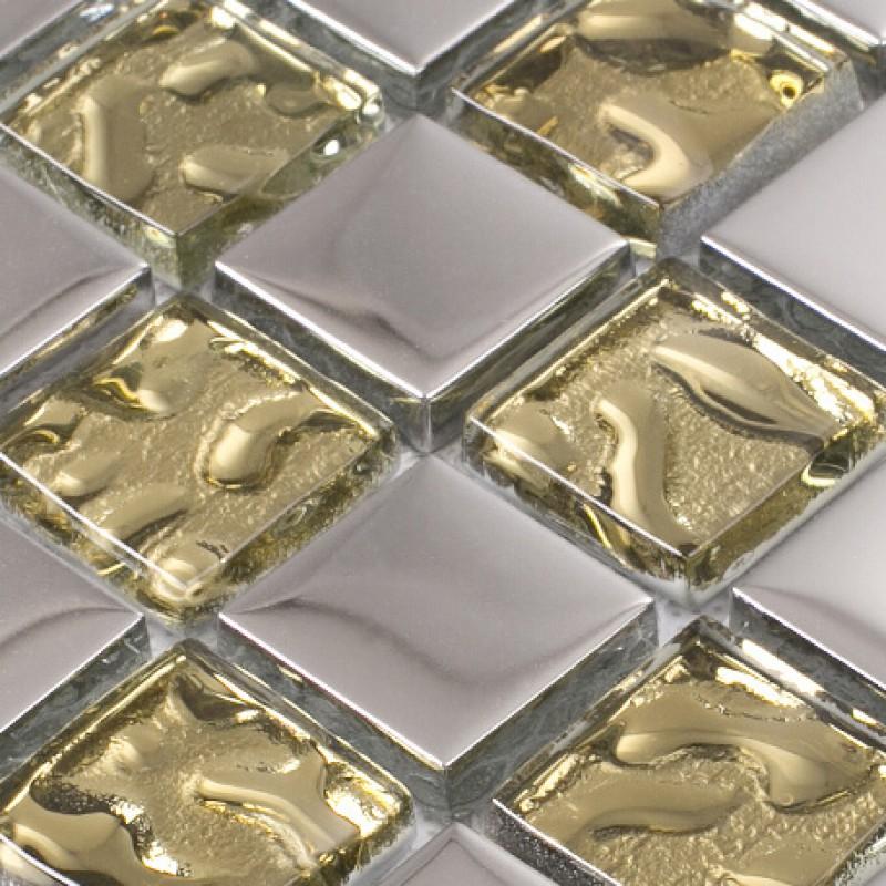 Gold crystal glass tile backsplash in kitchen plated glass for Washroom tiles design