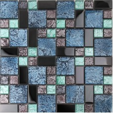 Black stainless steel backsplash metal glass mosaic tile bathroom shower wall decor kitchen backsplashes MGT785