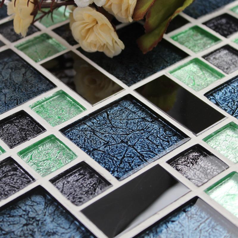 black mosaic tiles bathroom