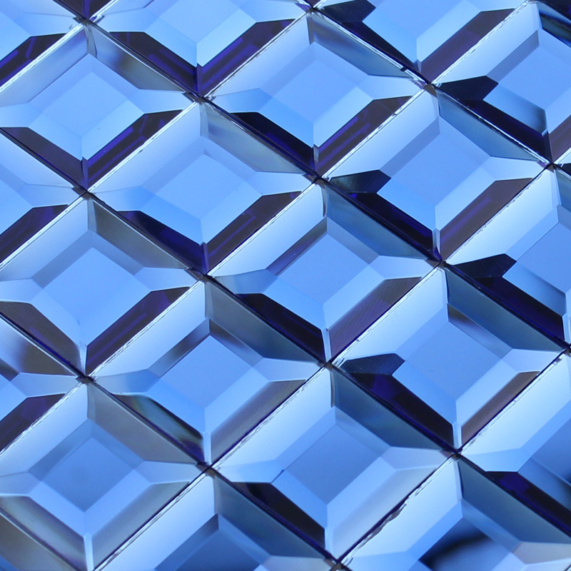 Blue glass mosaic tile backsplash pyramid 3d shower wall Mosaic tile wall designs