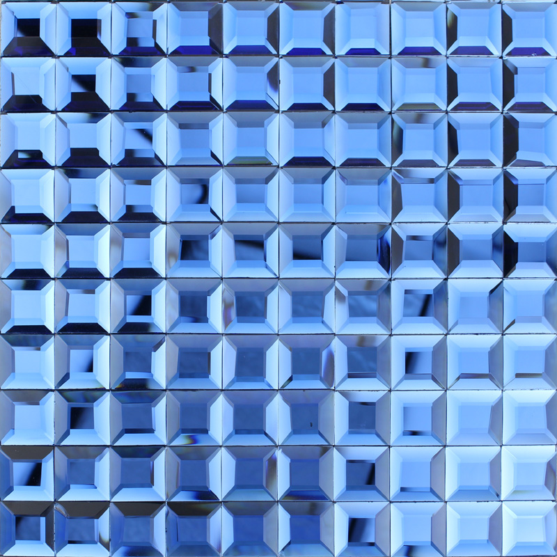 blue glass mosaic tile backsplash pyramid 3d shower wall tiles design