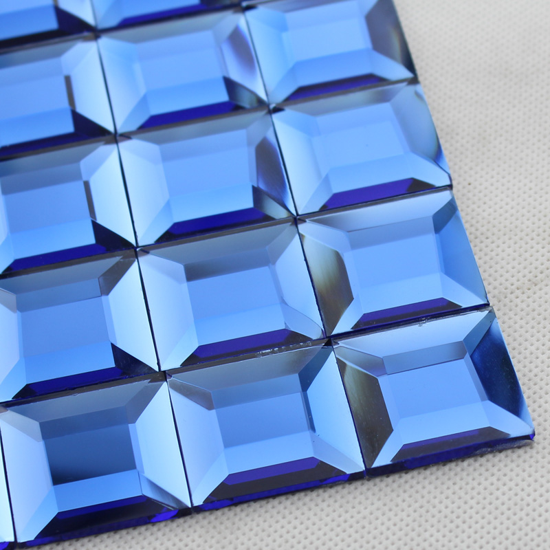 Blue glass mosaic tile backsplash pyramid 3d shower wall tiles ...