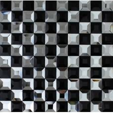 Black and white mosaic bathroom floor tiles pyramid 3d glass patterns kitchen bar table mirror tile backsplash wall decor CGT923