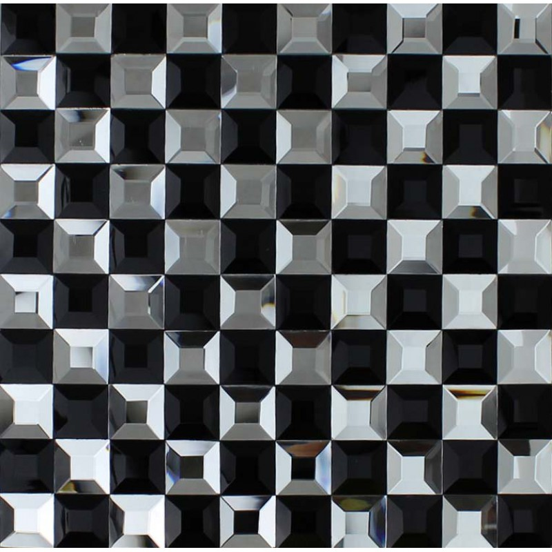 Black And White Mosaic Bathroom Floor Tiles Pyramid 3d