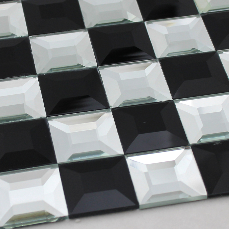 Black And White Mosaic Bathroom Floor Tiles Pyramid 3d Glass Patterns Kitchen