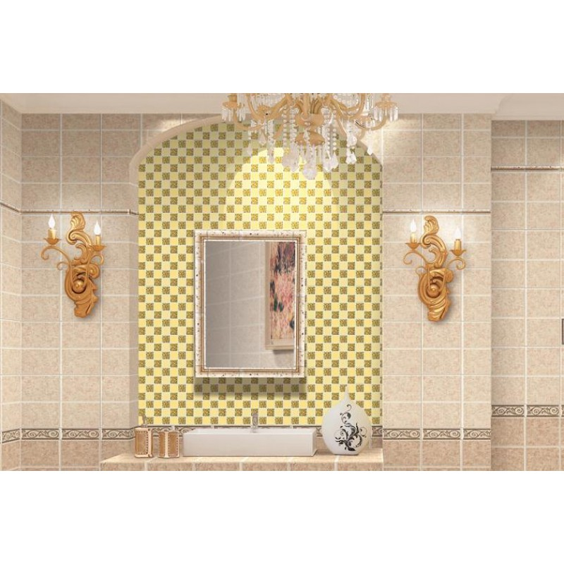 Glass Mirror Mosaic Tile Sheets Gold Mosaic Bathroom Shower Wall Tiles Design