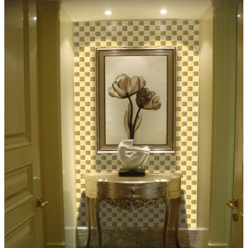 Glass mirror mosaic tile sheets gold mosaic bathroom for Gold mosaic bathroom accessories