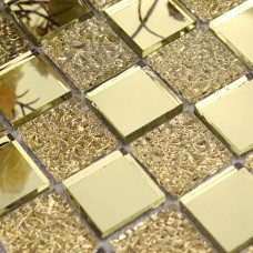 Glass mirror mosaic tile sheets gold mosaic bathroom shower wall tiles design crystal glass mirrored frame decor GMT925