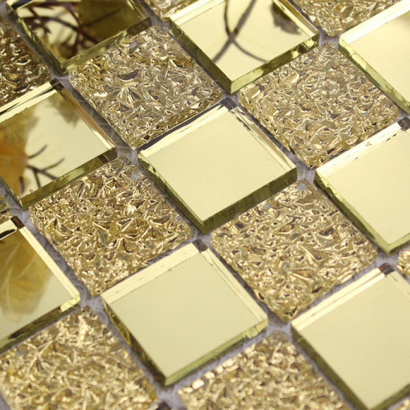 Glass mirror mosaic tile sheets gold mosaic bathroom shower wall ...