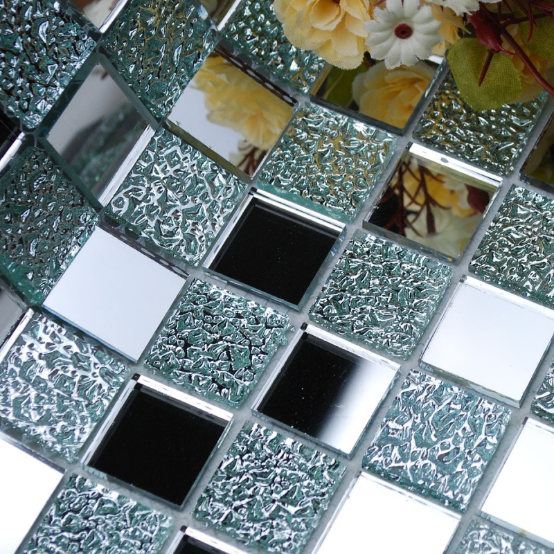 Crystal Glass Backsplash Kitchen Tile Mosaic Design Art Mirrored Wall Stickers Bathroom Shower Floor Mirror Tiles Sheet Kl931