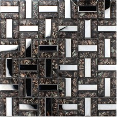 Crystal Mosaic Tiles Stainless Steel & Glass Blend Random Metallic Mosaics Mesh Sheet Metal Kitchen Wall Backsplash KLE009