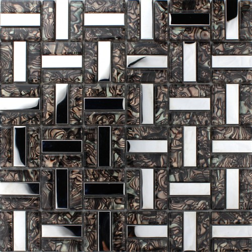 Black shell patterns glass tile sheets silver stainless steel tiles for kitchen and bathroom rectangle metal wall art designs KLLE009