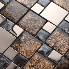 Metal and glass blend mosaic tile brown crackle crystal backsplash stainless steel with base MGT007 kitchen back splash wall decor