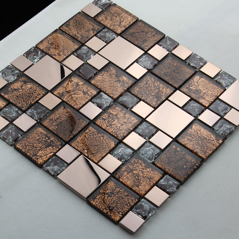 Sample Golden Brown Metallic Linear Glass Mosaic Tile: Metal And Glass Blend Mosaic Tile Brown Crackle Crystal