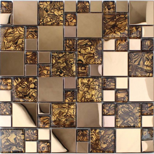 Sample Stainless Steel Metal Pattern Mosaic Tile Kitchen: Gold Stainless Steel Backsplash For Kitchen And Bathroom