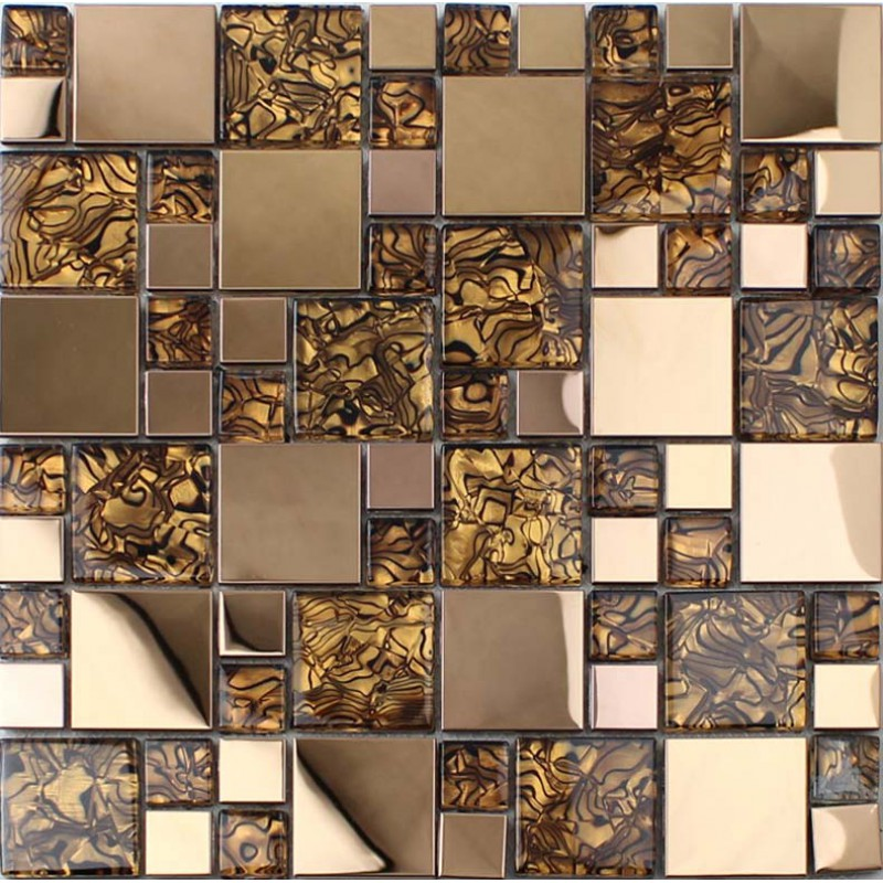 Gold stainless steel backsplash for kitchen and bathroom metal and glass tile - Mosaic kitchen ...