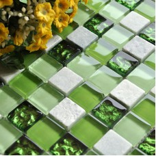 Green Glass Mosaic Tile Kitchen Backsplash Ideas Bathroom Wall Decor Stone Mosaics Natural Marble Floor Tiles KQLZ02