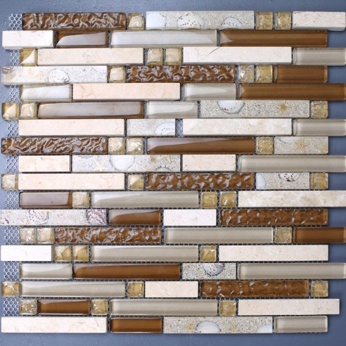Stone mosaic tile sheets kitchen backsplash tiles interlocking marble KS157 crystal glass tile resin shell bathroom wall sticker