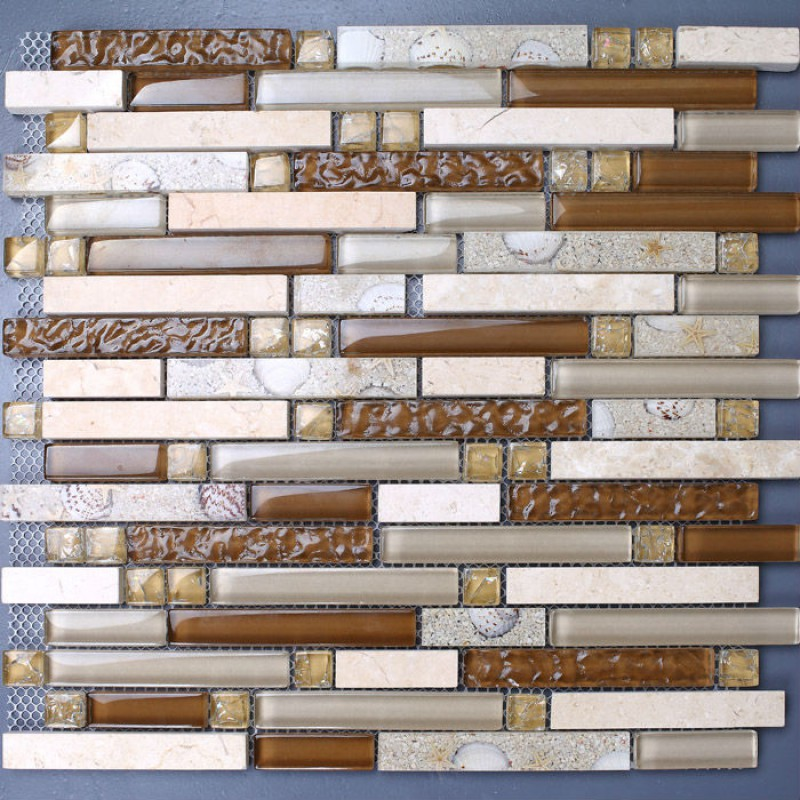 Stone Mosaic Tile Sheets Kitchen Backsplash Tiles Interlocking Marble KS157  Crystal Glass Tile Resin Shell Bathroom ...