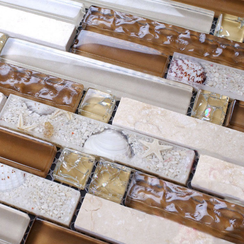 Stone mosaic tile sheets kitchen backsplash tiles interlocking marble KS157  crystal glass tile resin shell bathroom wall sticker - Mosaic Tile Sheets Kitchen Backsplash Tiles Interlocking Marble