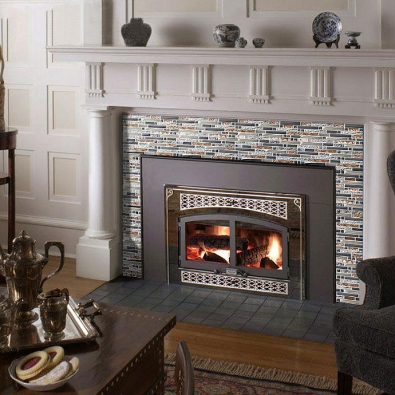 Glass Tile Subway Interlocking Crystal Mosaic Tiles For Fireplace Wall