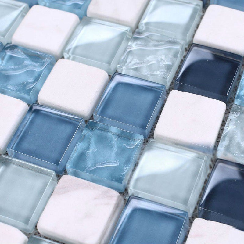 Mosaic Tile Backsplash Kitchen Design Blue Glass Stone Blend