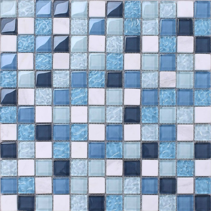 Crystal Mosaic Tile Backsplash Kitchen Design Blue Glass U0026 Stone Blend  Mosaic White Marble Stickers Bathroom Floor Tiles KS205