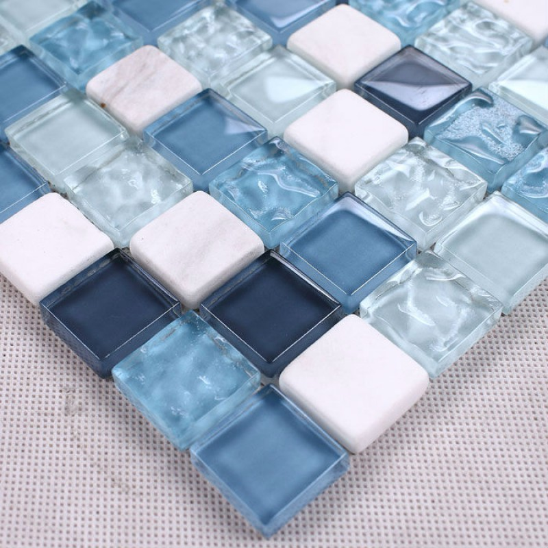 Simple Blue Mosaic Tile Pebble Stone Tiles PPMT015 Pebble Porcelain Mosaic