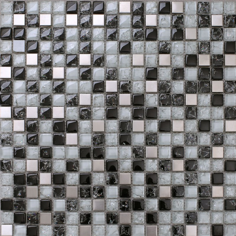 Black and white mosaic tile crackle glass stainless steel ...