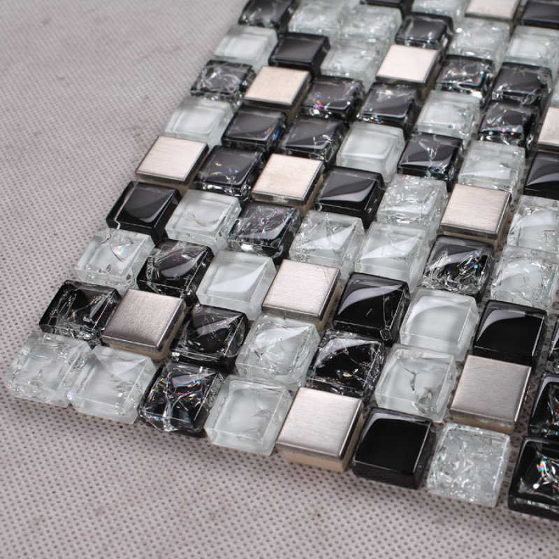 Black And White Mosaic Tile Crackle Glass Patterns Kitchen Backsplashes Cheap Stainless Steel Backsplash Metal Tile