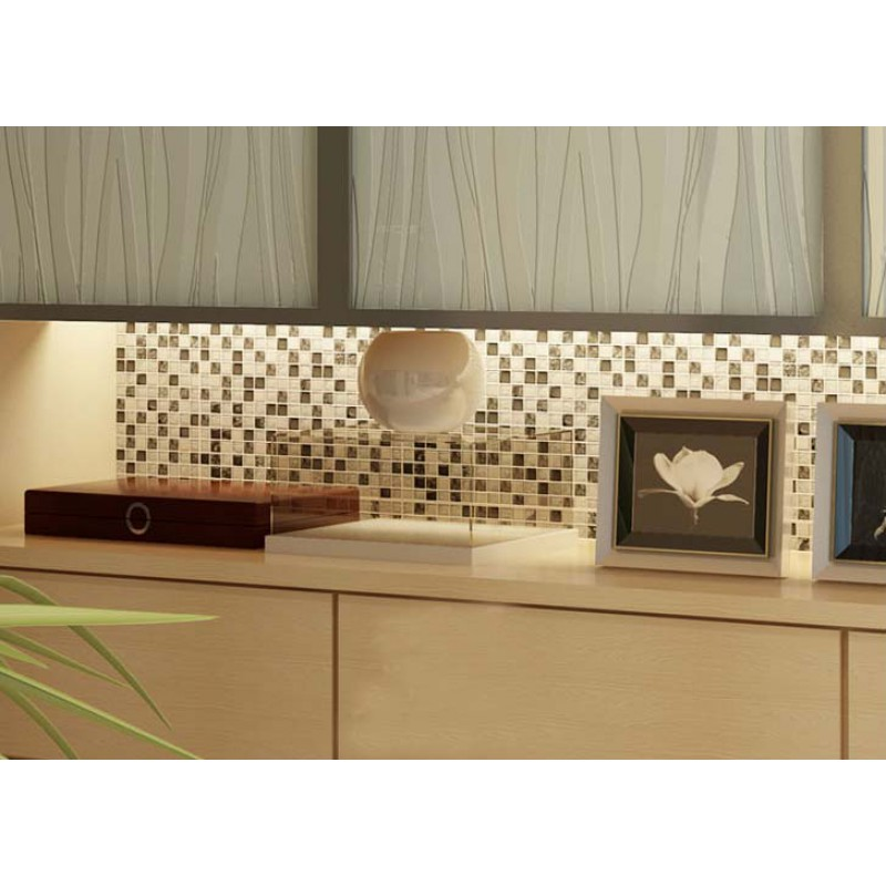 Black and white mosaic tile crackle glass stainless steel backsplash - Black and white tile kitchen backsplash ...